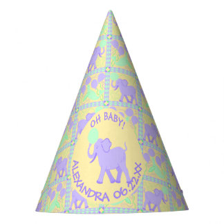 Cute Circus | Baby Shower Fun Elephant Pattern Party Hat