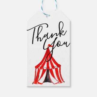 Cute circus tent carnival kid party thank you tag