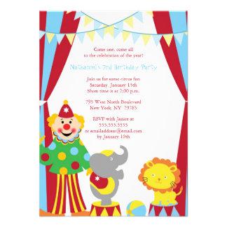 Cute circus theme boy girl birthday party invite