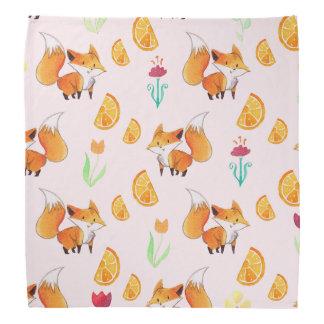Cute Citrus Fox Pattern Bandana