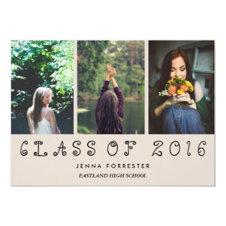 Cute Class Of 2016 Three Photos Graduation Party Card