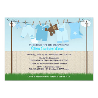 Cute Clothesline Baby Boy Modern Baby Shower 13 Cm X 18 Cm Invitation Card
