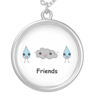 Cute Cloud and Raindrop Friends Round Pendant Necklace