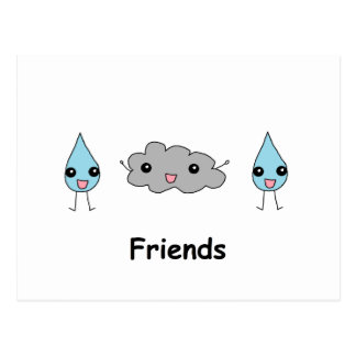 Cute Cloud and Raindrop Friends Postcard