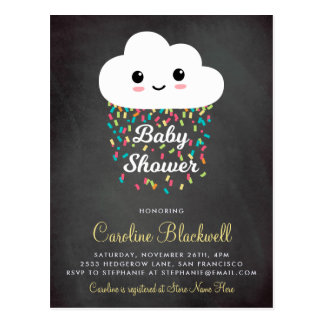 Cute Cloud & Confetti | Chalkboard Baby Shower Postcard