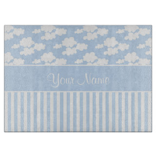 Cute Clouds and Stripes Cutting Board