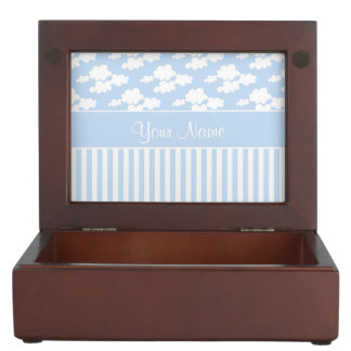 Cute Clouds and Stripes Keepsake Box