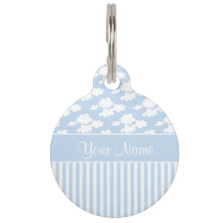 Cute Clouds and Stripes Pet Name Tag