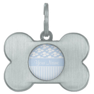 Cute Clouds and Stripes Pet Tag