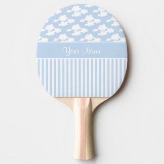 Cute Clouds and Stripes Ping Pong Paddle