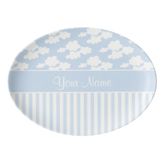 Cute Clouds and Stripes Porcelain Serving Platter