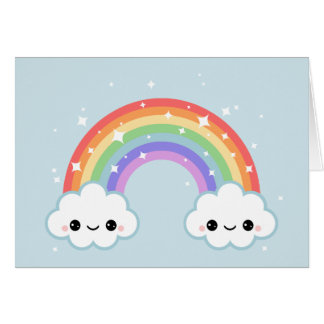 Cute Clouds with Rainbow Card