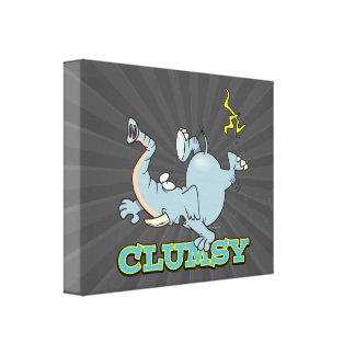 cute clumsy elephant cartoon gallery wrapped canvas