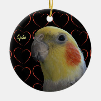 Cute Cockatiel and Hearts Ceramic Ornament