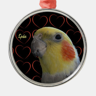 Cute Cockatiel and Hearts Metal Ornament