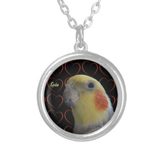 Cute Cockatiel and Hearts Silver Plated Necklace