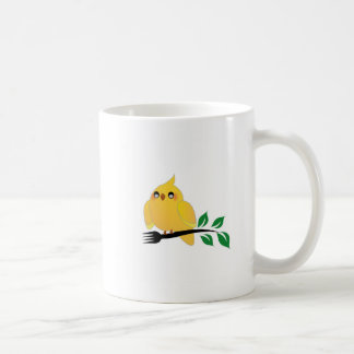 Cute cockatiel holding a fork coffee mug