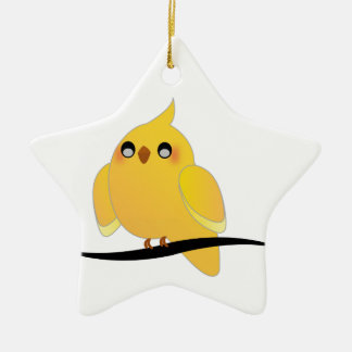 Cute cockatiel on a twig ceramic ornament