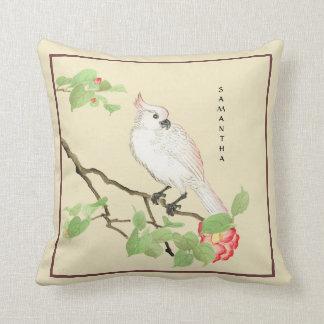 Cute Cockatoo Vintage Japanese Camellia Pillow