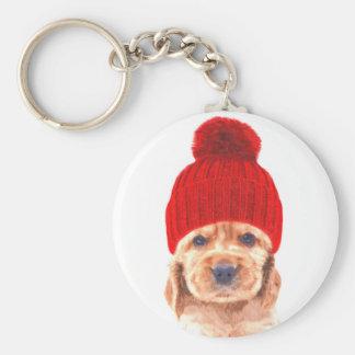 Cute cocker spaniel puppy with cap portrait key ring