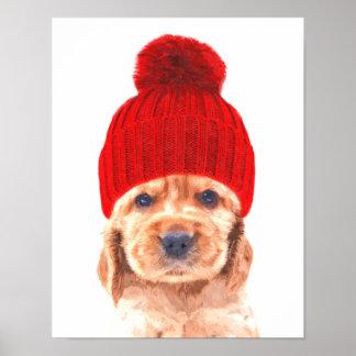 Cute cocker spaniel puppy with cap portrait poster