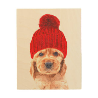Cute cocker spaniel puppy with cap portrait wood wall decor