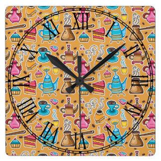 Cute Coffee and Cakes Design Clocks