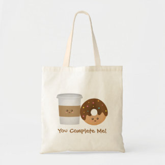 Cute Coffee and Donut, You complete me Budget Tote Bag