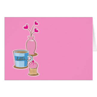 Cute coffee break with latte flowers hearts greeting card