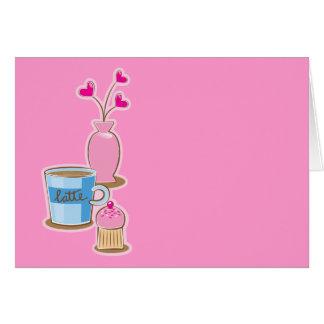 Cute coffee break with latte flowers hearts greeting card