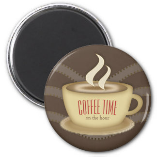Cute Coffee Cup 6 Cm Round Magnet