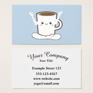 Cute coffee cup doing Yoga Business Card