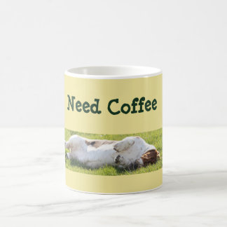 Cute Coffee Mug w/Funny Sleeping Basset Hound