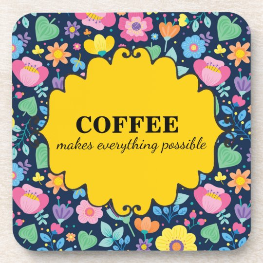 Cute Coffee Pink Yellow Blue Green Floral Coaster