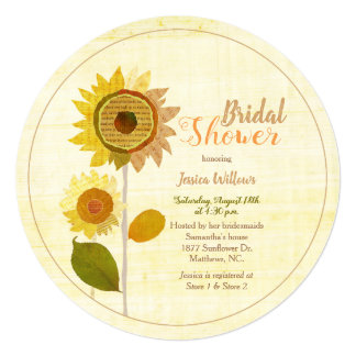 Cute Collage Sunflowers Bridal Shower Invitation