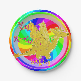 Cute Color Dragon customizable Name Paper Plate
