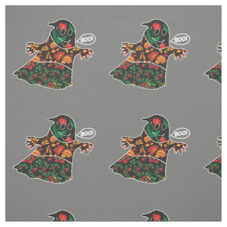 Cute color floral ghost with boo Halloween Fabric