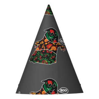 Cute color floral ghost with boo Halloween Party Hat