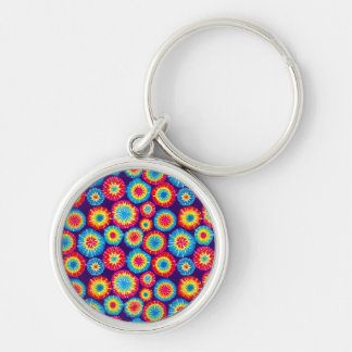 Cute colorful abstract suns patterns Silver-Colored round key ring