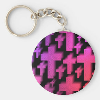 Cute colorful and bright Christian crosses Basic Round Button Key Ring