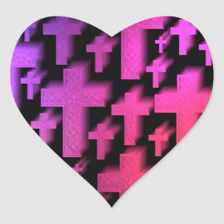 Cute colorful and bright Christian crosses Heart Sticker