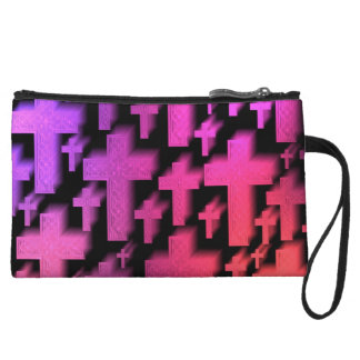 Cute colorful and bright Christian crosses Wristlet Purse