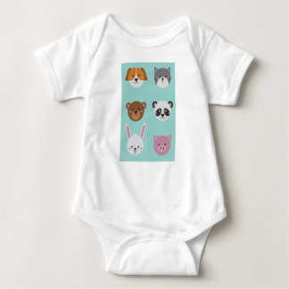 Cute Colorful Animals Baby Bodysuit