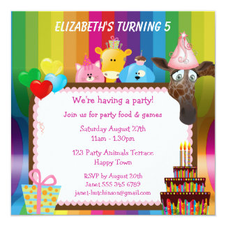 Cute & Colorful Animals Girls Birthday Party Announcements