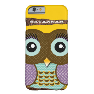 Cute Colorful Aqua and Purple Owl Barely There iPhone 6 Case