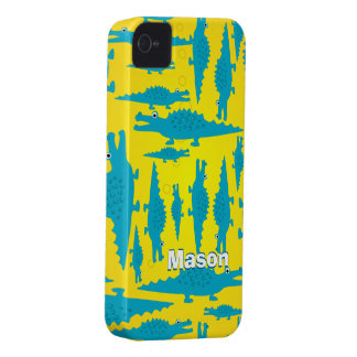 Cute Colorful Aqua and Yellow Alligator Pattern iPhone 4 Case-Mate Cases
