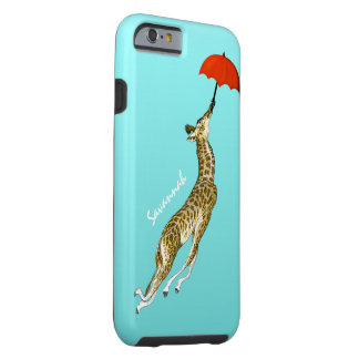 Cute Colorful Aqua Flying Giraffe Red Umbrella Tough iPhone 6 Case