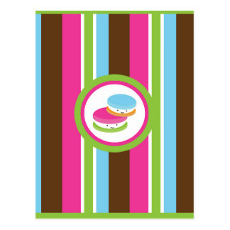 Cute Colorful Bakery Macaroons Fun Stripe Flyer Postcard