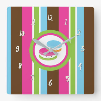 Cute Colorful Bakery Macaroons Fun Stripes Square Wall Clock