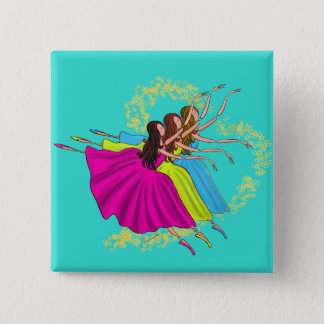 CUTE COLORFUL BALLERINAS DANCING. HAPPY DANCERS 15 CM SQUARE BADGE